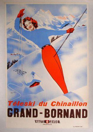 grand bornand t l ski du chinaillon affiche originale par moine ann es 50. Black Bedroom Furniture Sets. Home Design Ideas