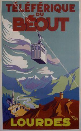 LOURDES - TELEFERIQUE DU BEOUT - affiche originale par Hubert Mathieu - 1952