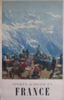 SPORTS D'HIVER EN FRANCE - RESTAURANT DU TELEPHERIQUE DU BREVENT A CHAMONIX - affiche ancienne