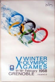 Xth WINTER OLYMPIC GAMES - GRENOBLE 1968, par Jean Brian - affiche officielle