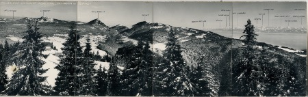 TELESIEGE METABIEF MONT D'OR - PANORAMA AU SOMMET - montage photographique panoramique (ca 1960)