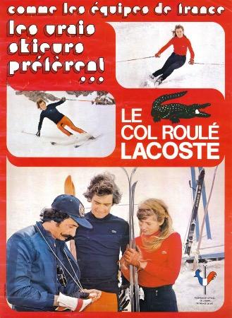 les vrais skieurs pr f rent le col roul lacoste affiche publicitaire originale ca 1975. Black Bedroom Furniture Sets. Home Design Ideas