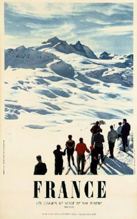 FRANCE - LES CHAMPS DE NEIGE DE VAL D'ISERE - grande affiche originale, photo de Carabin (1957)