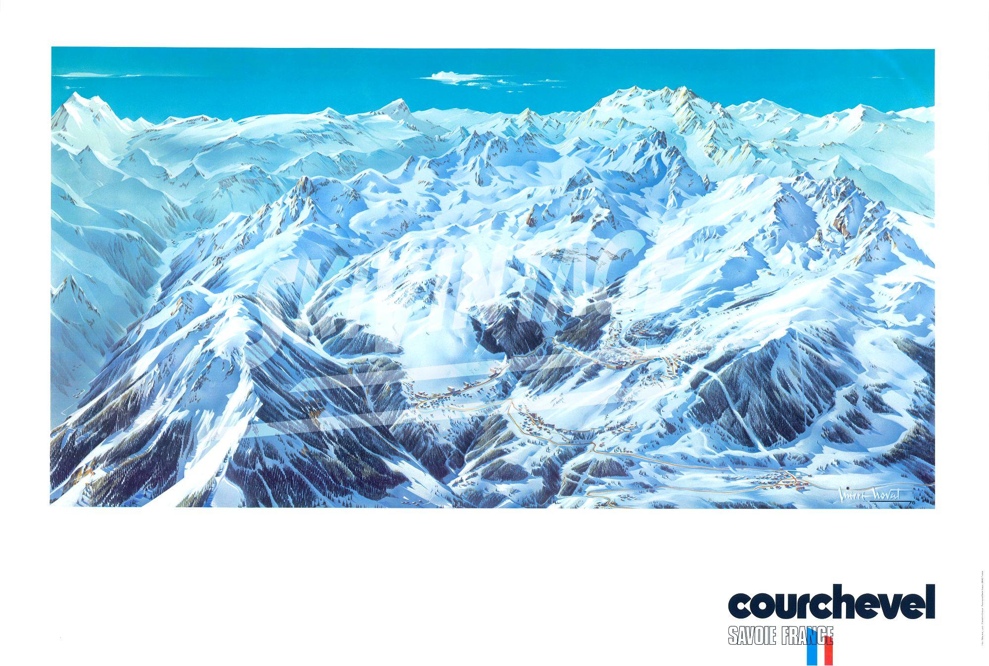 Courchevel grand poster panorama de pierre novat 1976 - Courchevel 1650 office du tourisme ...