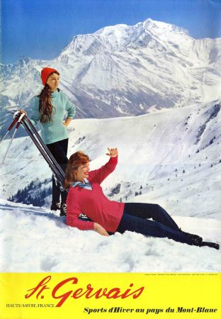 SAINT-GERVAIS SPORTS D'HIVER AU PAYS DU MONT-BLANC - affiche originale, photo Machatschek (1967)
