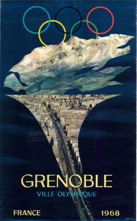GRENOBLE VILLE OLYMPIQUE FRANCE 1968 - affiche officielle originale