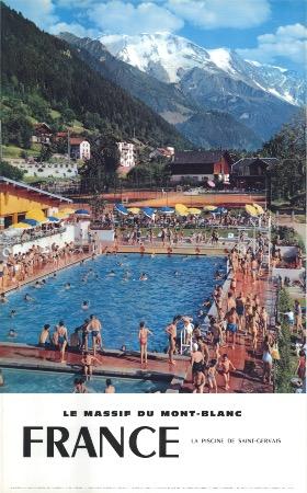 le massif du mont blanc la piscine de saint gervais affiche originale photo machatschek 1959. Black Bedroom Furniture Sets. Home Design Ideas