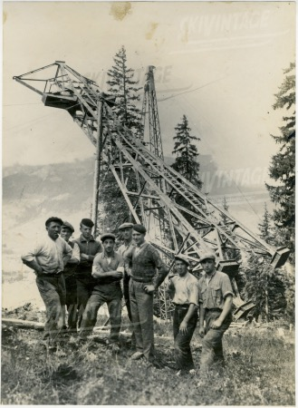 CHANTIER DU TELEFERIQUE DU MONT D'ARBOIS A MEGEVE - 5 photos originales (1934)