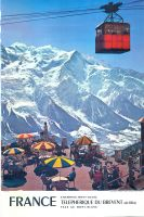 FRANCE CHAMONIX-MONT-BLANC - TELEPHERIQUE DU BREVENT FACE AU MONT-BLANC - affiche originale (1972)