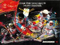 OLYMPIC WINTER GAMES CALGARY 88 - ROSSIGNOL GOLDEN CHAMPIONs - affiche originale