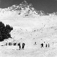 MERIBEL -  LES PISTES DE SKI DE BURGIN - retirage photo Machatschek (1960)