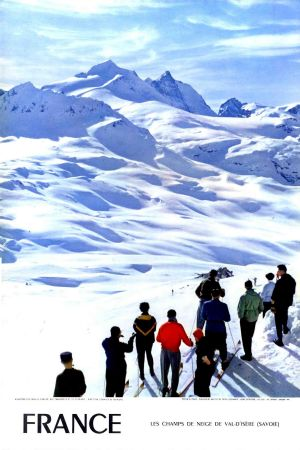FRANCE - LES CHAMPS DE NEIGE DE VAL D'ISERE - affiche originale, photo de Carabin (1957)