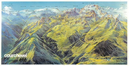 ETE 1976 A COURCHEVEL - grand poster panorama de Pierre Novat (1975)