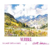 MERIBEL - VILLAGE DES ALLUES - affiche originale de Cecile Johnson (ca 1990)