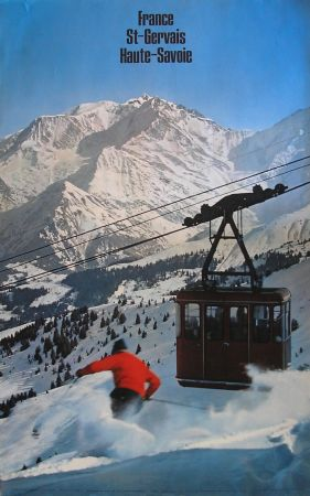 SKI EN FRANCE - SAINT-GERVAIS HAUTE-SAVOIE - LE TELEPHERIQUE DU BETTEX - affiche originale (1967)