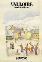 VALLOIRE SAVOIE STATION-VILLAGE - affiche originale par Guy Ameye (1973)