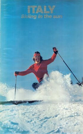 ITALY - SKIING IN THE SUN - ALITALIA - affiche originale (ca 1975)