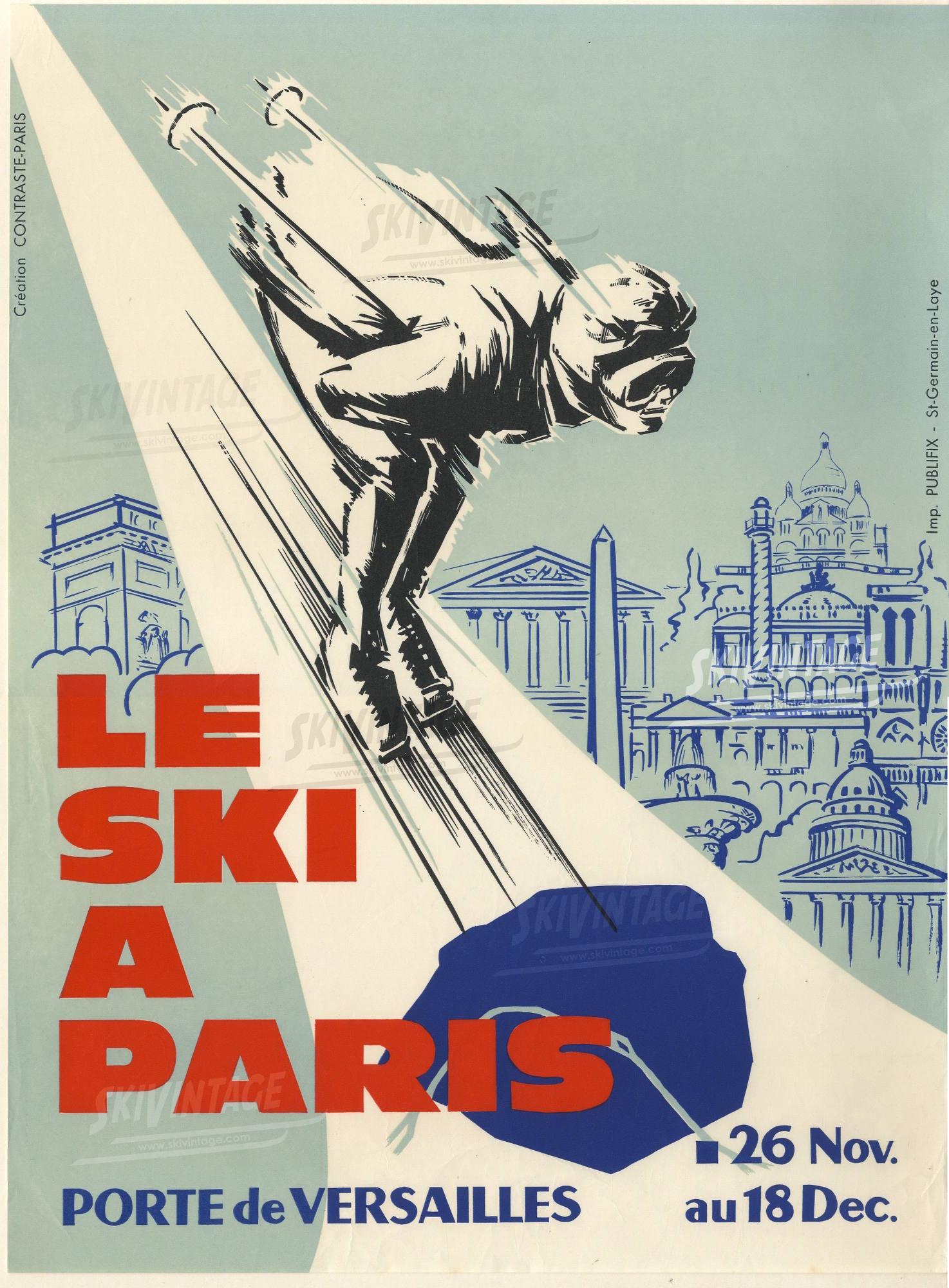 le ski paris porte de versailles affiche pub originale des ann es 60. Black Bedroom Furniture Sets. Home Design Ideas