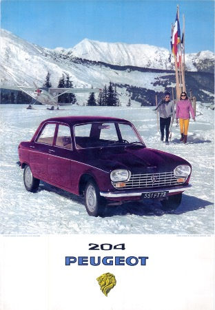 peugeot 204 au ski m ribel affiche publicitaire originale ca 1968. Black Bedroom Furniture Sets. Home Design Ideas