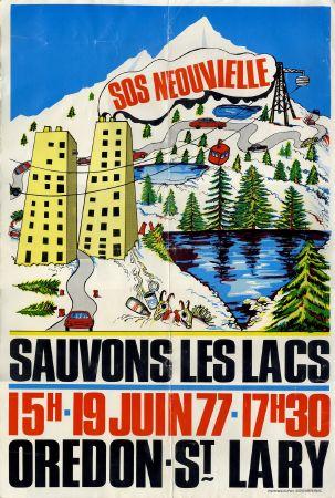 SOS NEOUVIELLE - SAUVONS LES LACS - OREDON-ST LARY - affiche originale (1977)