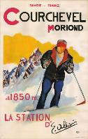 COURCHEVEL MORIOND 1850 M - LA STATION D'E. ALLAIS - affiche originale de Michel Boix-Vives (c 1955)