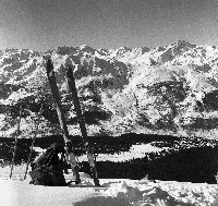 MERIBEL - APERCU DE LA VALLEE DES ALLUES DU COL DE LA LOZE- retirage photo Machatschek (1949)
