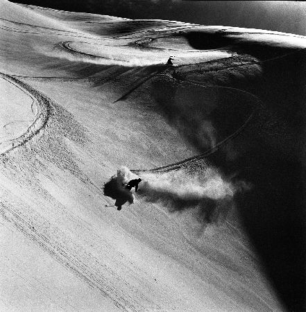 VAL D'ISERE - DESCENTE A SKI DE SOLAISE - retirage photo Machatschek (1951)