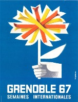 GRENOBLE 67 - SEMAINES INTERNATIONALES - affiche originale par Roger David (1967)