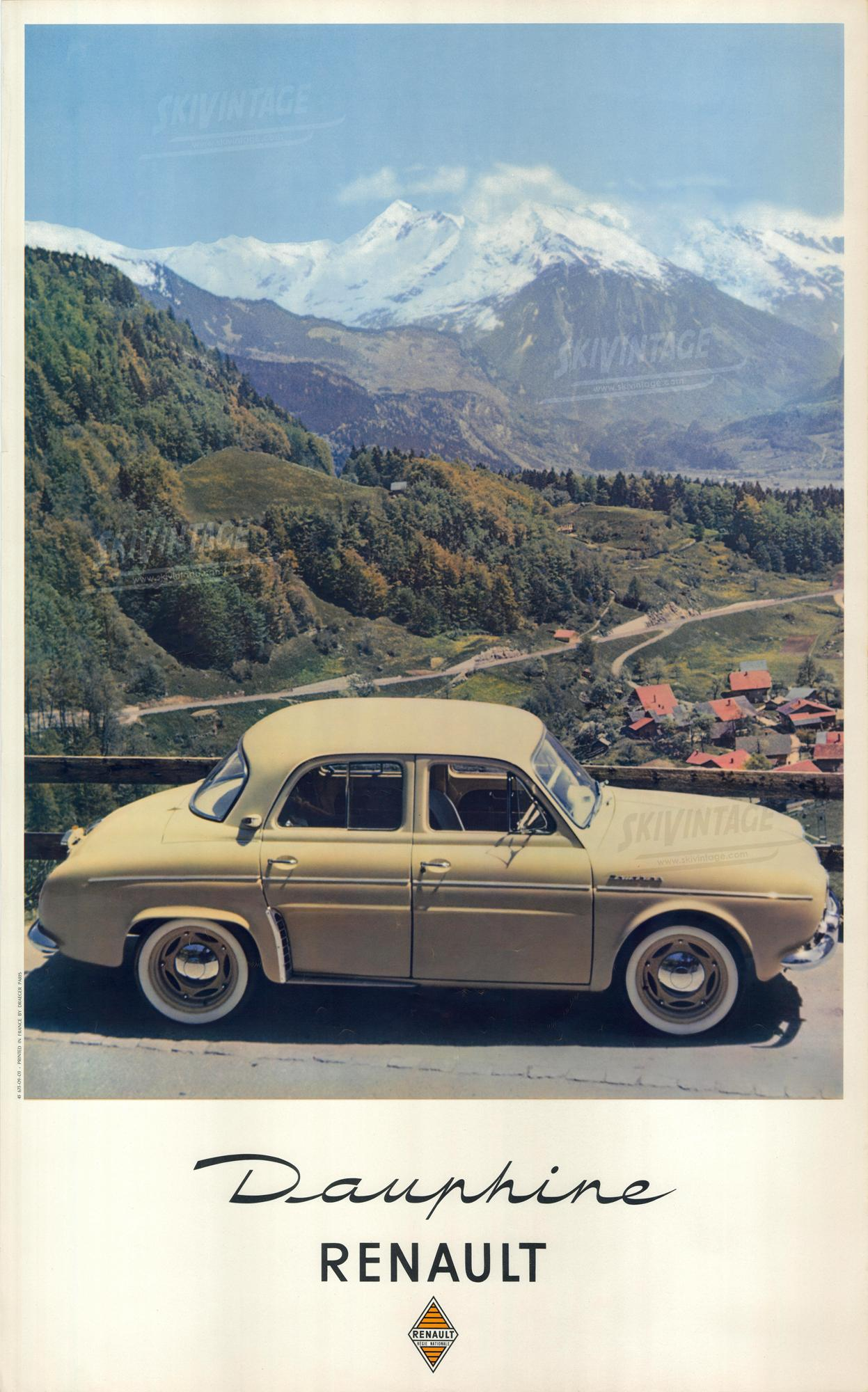 affiche originale renault dauphine sur une route des alpes. Black Bedroom Furniture Sets. Home Design Ideas