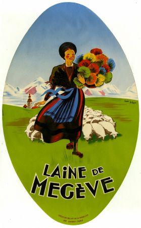 Laine de Megève - Affiche/médaillon d'après J. & P. Bellenger (ca 1950)