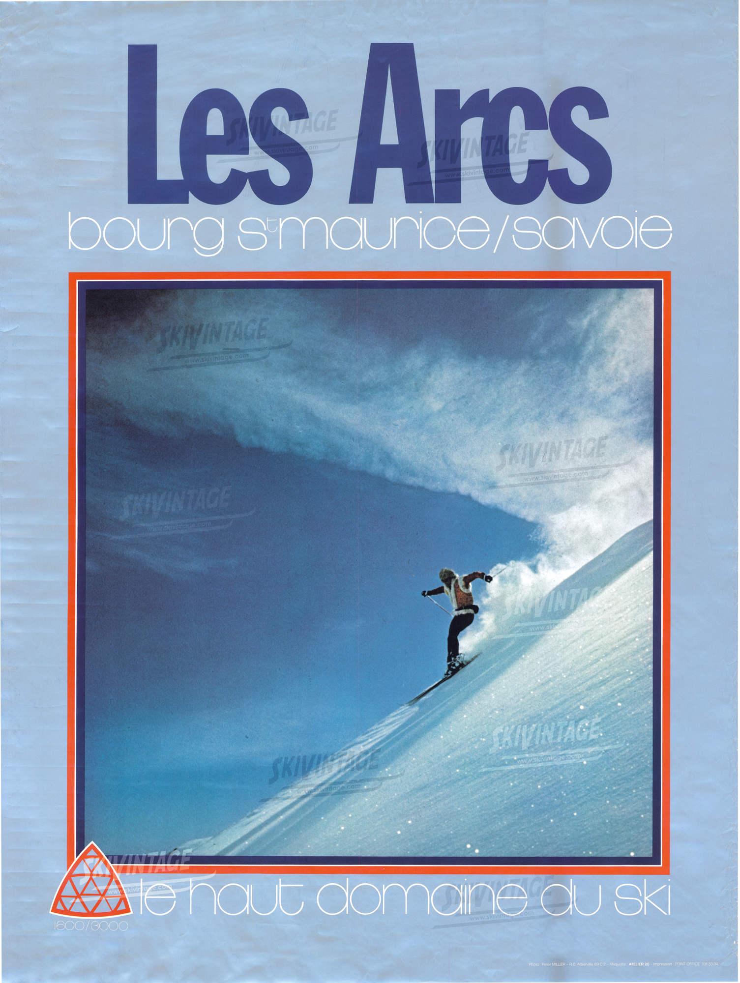 les arcs bourg st maurice savoie 1600 3000 le haut domaine du ski affiche originale ca 1970. Black Bedroom Furniture Sets. Home Design Ideas