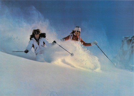 LE SKI EN POUDREUSE - poster photo par Pierre Poncet (ca 1980)