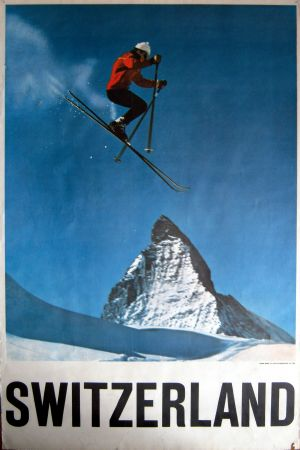 SWITZERLAND MATTERHORN ZERMATT (SKI JUMPER/SKIEUR) - affiche photo Perren-Barberini (c 1965)