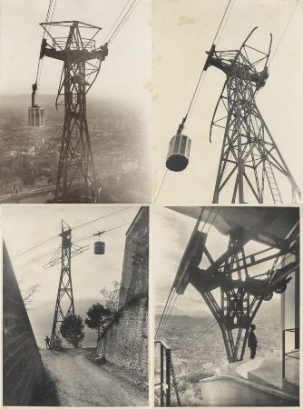 LE TELEFERIQUE DE GRENOBLE - PREMIER TELEFERIQUE URBAIN - 4 photos originales de Ch. Piccardy (1934)