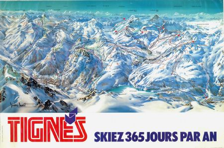 tignes skiez 365 jours par an affiche plan des pistes par pierre novat 1983. Black Bedroom Furniture Sets. Home Design Ideas