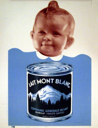 b b lait mont blanc compagnie g n rale du lait rumilly affiche publicit oiginale ann es 40. Black Bedroom Furniture Sets. Home Design Ideas
