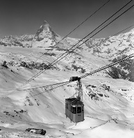 ZERMATT - TELEPHERIQUE GORNERGRAT-STOCKHORN (LGS) ET LE CERVIN - retirage photo Machatschek (1960)