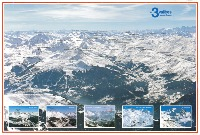 LES 3 VALLEES - SAVOIE/FRANCE - affiche panorama originale (ca 1975)