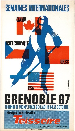 SEMAINES INTERNATIONALES GRENOBLE 67 - TOURNOI DE HOCKEY - affiche originale par Roger David