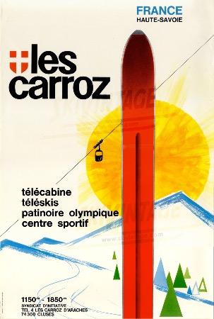 1936-1996 - Affiche numérotée pour les 60 ans de ski aux Carroz, par ...
