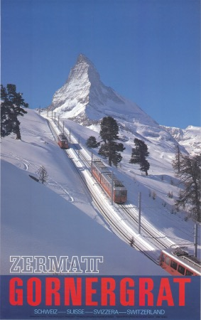 ZERMATT GORNERGRAT SCHWEIZ SUISSE SVIZERRA SWITZERLAND - affiche photo Klopfenstein (1980)