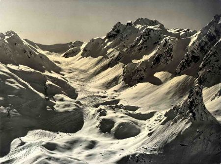 LA COMBE DE LA SAULIRE A COURCHEVEL - photo originale Claude Martin (ca 1958)
