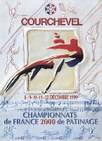 COURCHEVEL - CHAMPIONNATS DE FRANCE 2000 DE PATINAGE - affiche originale par Alain Bar (1999)