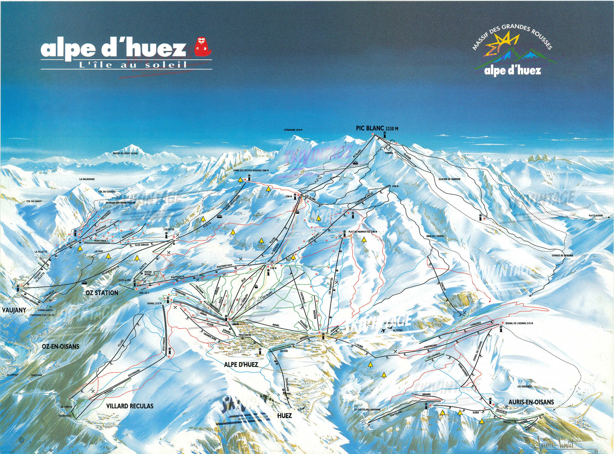 Alpe d 39 huez l 39 le au soleil grand plan des pistes de ski - Office du tourisme de l alpes d huez ...