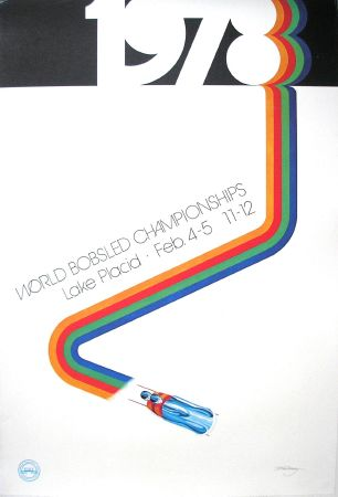 1978 WORLD BOBSLED CHAMPIONSHIPS - LAKE PLACID - affiche originale par Whithney