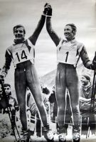 JEAN-CLAUDE KILLY ET GUY PERILLAT, CHAMPIONS OLYMPIQUES 1968 - affiche/poster United Press Intern.