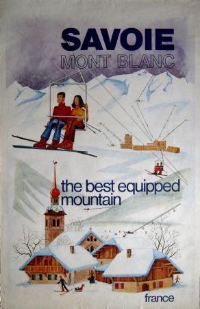 SKI SAVOIE MONT-BLANC, THE BEST EQUIPPED MOUNTAIN - affiche originale, publicité Laty (années 70)