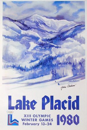 XIII OLYMPIC WINTER GAMES LAKE PLACID 1980, John Gallucci + dédicace - affiche officielle
