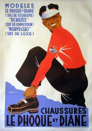 affiche publicitaire originale chaussures de ski le phoque et diane izeaux gaston gorde 1936. Black Bedroom Furniture Sets. Home Design Ideas