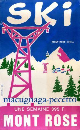 ski au mont rose macugnaga pecetto affiche originale ski en italie ann es 60 70. Black Bedroom Furniture Sets. Home Design Ideas